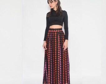 Vintage 70's Polka Dot High Waist Maxi Skirt