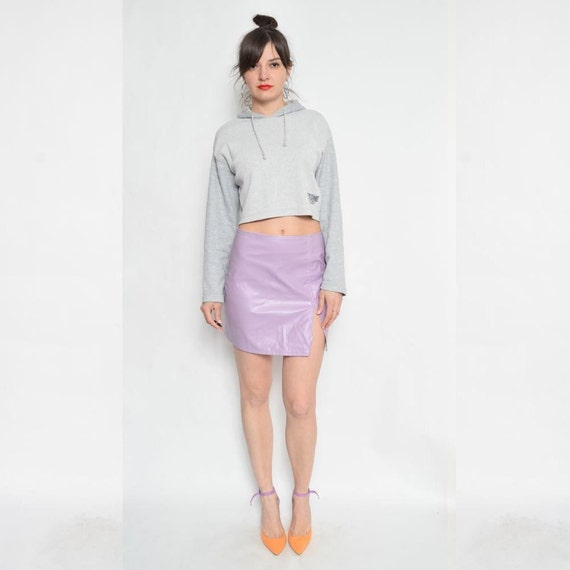 Vintage 90's Lilac Faux Leather Mini Skirt / Slit Leather