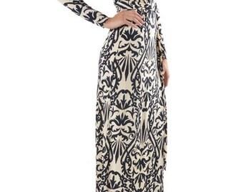 Black & Beige Paisley Wrap Dress