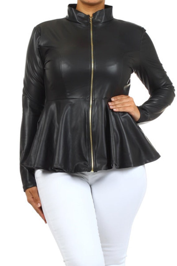 BLACK Faux Leather Peplum Jacket by OneGoldenBabe on Etsy