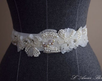 Hand Beaded Ivory White Flower on a Double Face Sash Ribbon Bridal Wedding Sash