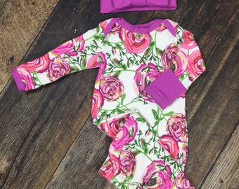 Newborn Girl Coming Home Outfit, Baby Layette Gown in Sweet Orchid Bloom with orchid trim/newborn baby gown