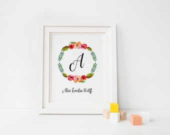 Personalized Nursery Wall Art, Newborn Nursery Monogram Sign, Watercolor Floral Wreath Art, Baby Girl Gift, Baby Shower Gift