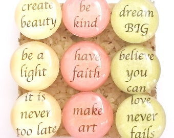 Inspirational Push Pins, Motivational Push Pins, Decorative Glass Push Pins, Inspirational Phrases, Uplifting Phrases, Pretty Push Pins
