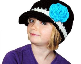 Crochet Newsboy Hat, Girls Newsboy, Toddler Girls Knit Hat, Crochet Flower Hat, Womens Spring Hat, Teen Newsboy Cap, GIrls Black Hat, Blue
