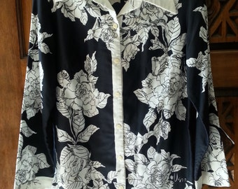 Vintage VERA black & white button down tunic