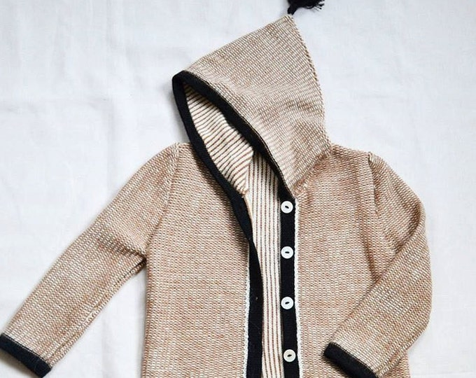 Patterned hooded sweater / baby alpaca brown hoodie / wool jacket / baby hoodie knit sweater wool jacket kids boy girl baby gift