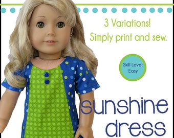Pixie Faire Oh Sew Kat Sunshine Dress Doll Clothes Pattern for 18 inch American Girl Dolls - PDF
