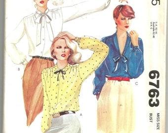 UNCUT 6763 McCalls Sewing Pattern Buttoned Blouses Size 12 34B Vintage 1970s