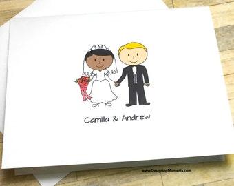 Personalized Wedding Thank You Card Set  Custom Bride and Groom Thank You  Cards  WeddingStick figure wedding   Etsy. Personalized Wedding Cards. Home Design Ideas