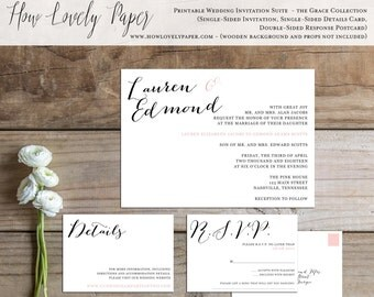 Printable Wedding Invitation Suite - the Grace Collection