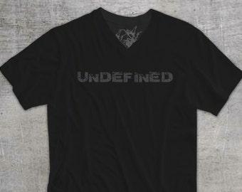 UNDEFINED. Men's Black Bamboo and Organic Cotton V-Neck T-shirt. Horizontal Logo.