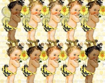 Queen Bee Princess Ruffle Pants | Vintage Baby Girl Gold Crown Bee Wings | 3 Skin Tones | Clipart Instant Download