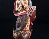 Vintage Santos, Mother Mary upon Demi-Lunes and Cherubs, Spanish Colonial Santos