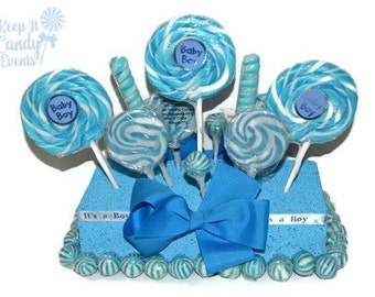Baby Boy Baby Shower Rectangle Lollipop Centerpiece, Baby Boy Baby Shower  Decoration Ideas, Baby