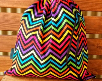 Kids Library Bag - Rainbow Chevron
