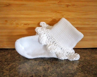 White baby socks with white frilly crochet trim, multiple sizes available