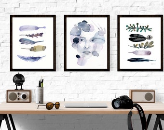 Set of 3 art prints, 3 watercolor feather and portrait giclee art prints, Purple feather wall art, Buy two get one free, Buy 2 get 1 free,