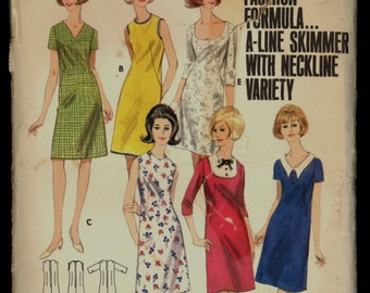 1960s Size 18 Bust 38 Easy A Line Shift Butterick 4029 Sewing Pattern Vintage Retro 60s Skimmer