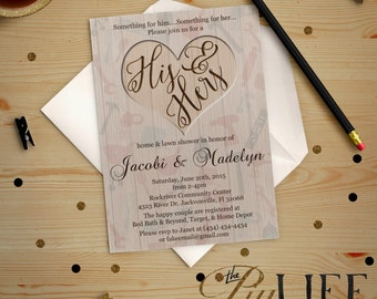 Wedding Shower   His & Hers Home and Lawn Wedding Shower Invitation Digital File No. I212
