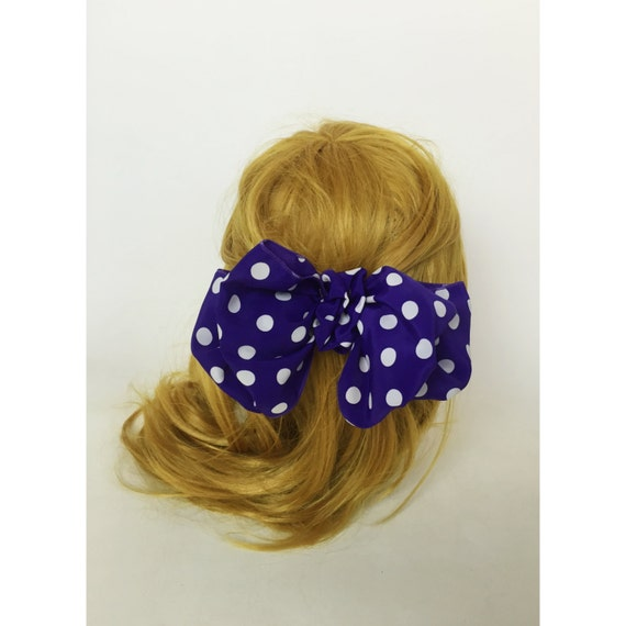 90's Giant Polka Dot Bow Clip Purple & White French Clip Hair Barrette - Giant Bow Clip Hipster Nineties Grunge Accessory Big Bow Clip Dots