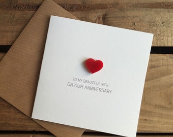 To My Beautiful Wife On Our Anniversary Card with Magnetic Love Heart Keepsake