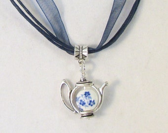 Painted Blue China Teapot 16in Navy Blue Ribbon Necklace  (N183)