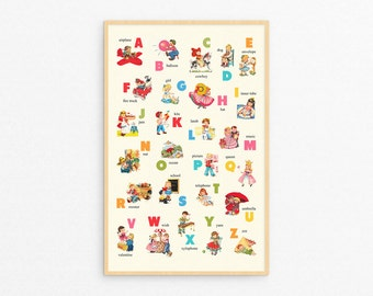 Digital retro children ABC poster / nursery wall art printable instant download / print it yourself / vintage images of boys and girls