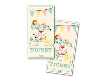 Digital Vintage Baby Shower Raffle Tickets / gender neutral baby getting weighed / perfect for diaper raffle / downloadable, printable