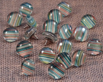 Pinstripes Glass Push Pins, Set of 10