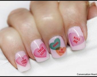 Conversation Hearts Nail Decals, Valentine Heart Nail Art By NAILTHINS