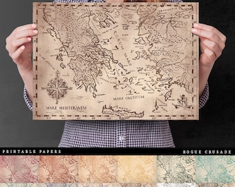 Ancient Greece Map - High Quality Vintage Digital Paper For Art Journals, Insert Covers, Planner Dividers, And Paper Crafts
