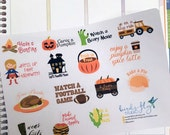 Fall Bucket List Stickers / Fall To Do List Sticker / Fall Holiday Thanksgiving Halloween Stickers / Fall Reminders for Planners