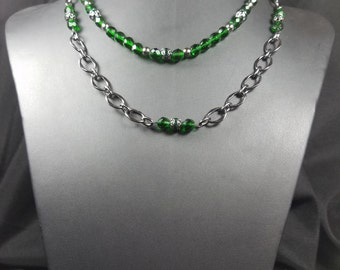 Emerald Green Beads and Gunmetal Chain