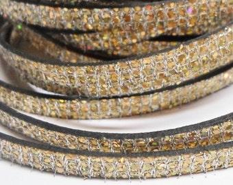 "SALE: Per 7""  6mm Flat Leather Cord, Gold Glitter ,"