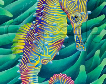 "Carolyn Steele tropical art print, technicolor seahorse: ""Horse of a Different Color"""