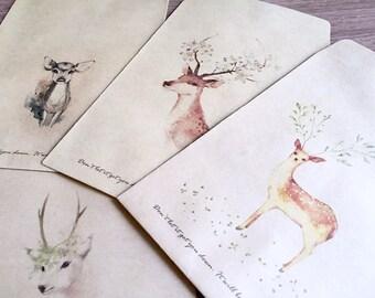 4 Lovely deer envelopes deer kraft envelope 4pcs reindeer elk moose Alces Retro envelope cute vintage animal Kraft envelope set