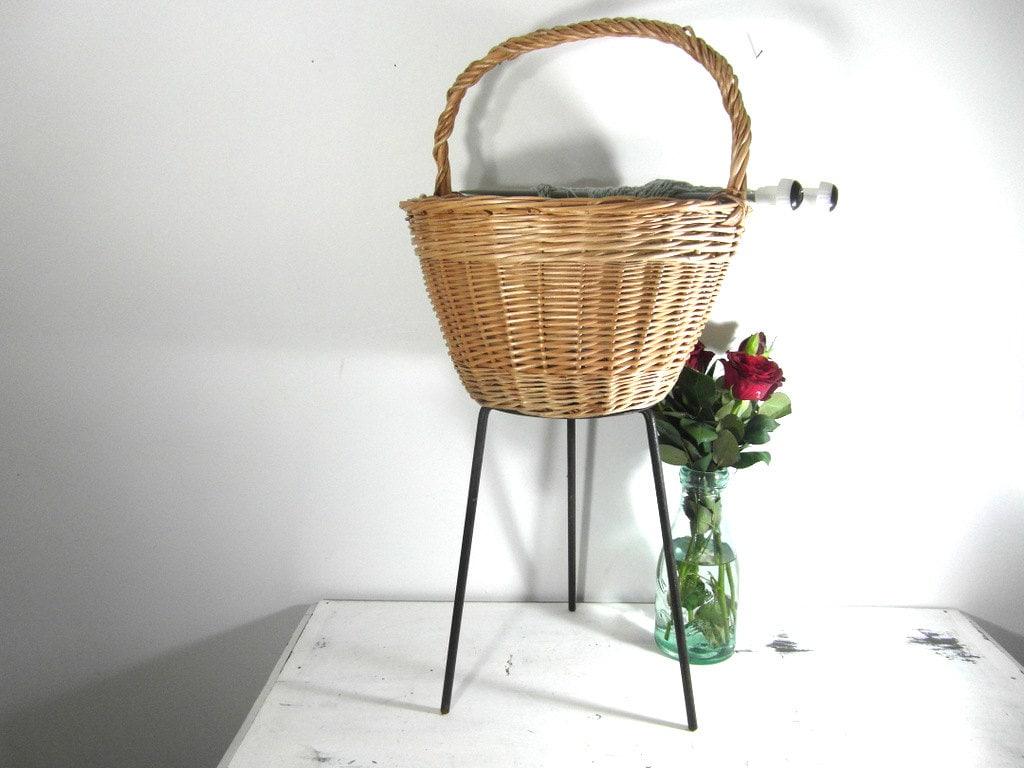 Knitting Basket With Handles : Large wicker basket iron tripod knitting french