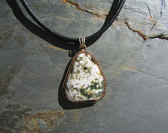 Orbicular / Ocean Jasper Necklace - Ocean Jasper in Copper Pendant on Black Leather Cord 18.5 Inch - Large Stone Pendant - Sequoia's Roots