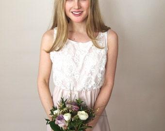 HOLLIE- corded lace bridesmaid dress with blush/rose quartz matt duchess satin full length skirt - maxi dress - made to order - boho wedding