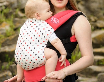"""Baby Carrier/ Fast Sling/ Reversible/ SSC/  Double-sided / Ergonomic Sling / """"Graphic Leaves+Salmon Dots""""  by Bagy"""