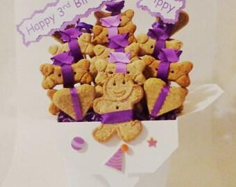 Dog treat birthday gift basket - dog gift basket - dog treats - dog biscuits - pet treats - personalized dog treats - dog birthday