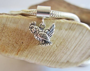 Chicken Mini European-Style Bracelet Charm and Leather or Sterling Silver Bracelet