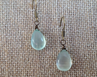 Aqua Blue Chalcedony briolette and Antique Bronze dangle earring