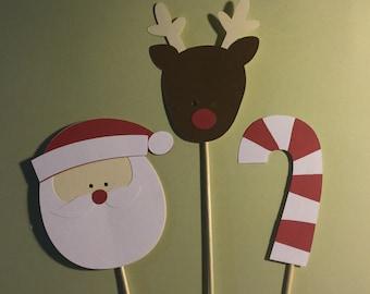 3 piece Christmas Centerpiece picks - Santa Reindeer - Candy Cane - Holiday Centerpiece - Christmas decoration - Party Decor - Table decor