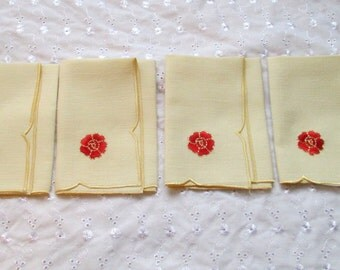 Poppy Napkins, Poppy Serviettes, Poppy Rose Napkins, Poppy Rose Serviettes, Vintage Poppies, Set of 4 Vintage Serviettes,Vintage Red Poppies