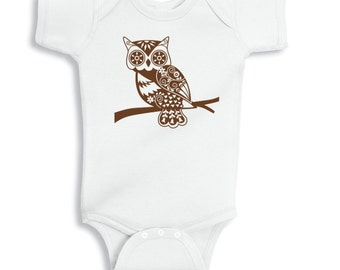 Baby Clothes, Bodysuit, Owl Baby Jumpsuit, Owl Onepiece, Infant Woodland Critter, Forest Animal Baby Shower Gift, New Born NB 6M 12M 18M 24M
