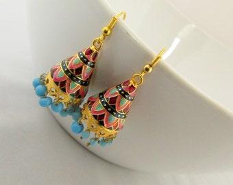 Meenakari Hand Crafted   Jhumka  Dangle Earrings