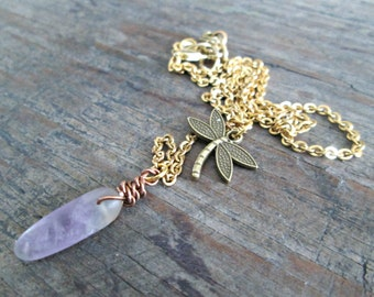 Dragonfly Jewelry, Dragonfly Necklace, Dragonfly Pendant, Dragonfly Jewellery, Amethyst Necklace, Healing Crystals and Stones, Mauve Stone