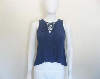 Blue Lace up Sleeveless Blouse